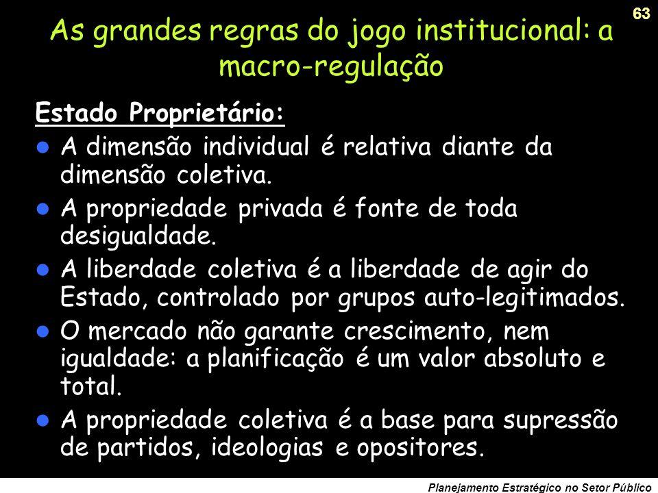 As grandes regras do jogo institucional: a macro-regulação