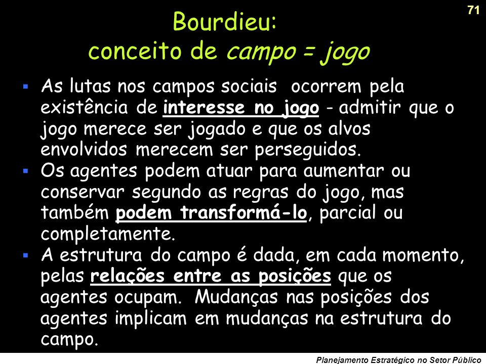 Bourdieu: conceito de campo = jogo