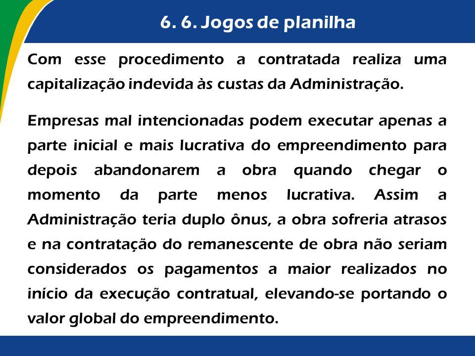 6. 6. Jogos de planilha Com esse procedimento a contratada realiza uma capitalização indevida às custas da Administração.