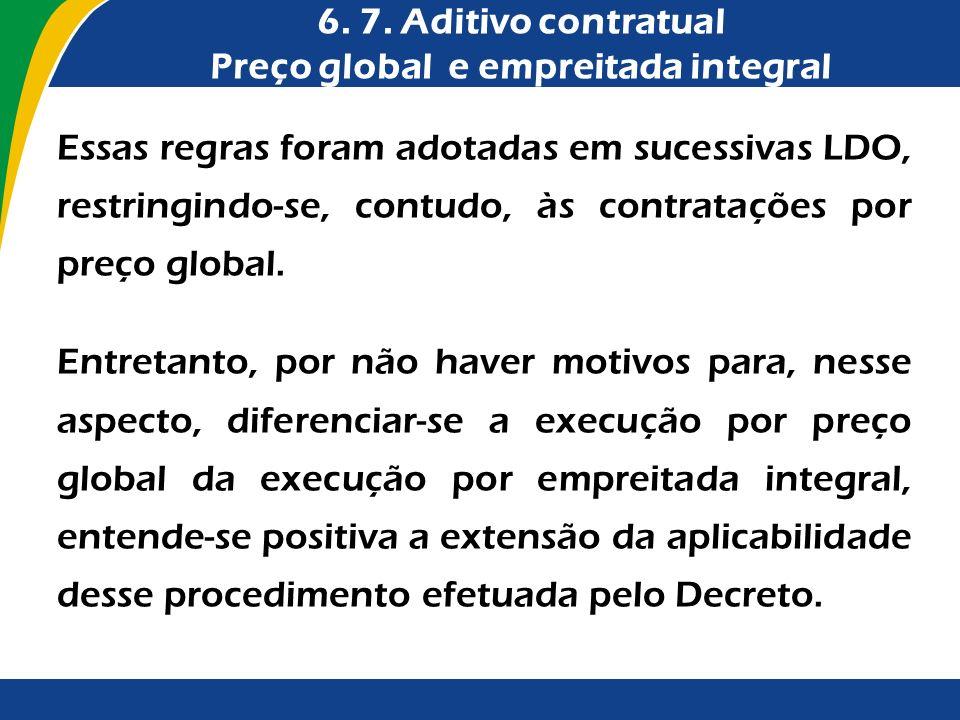 6. 7. Aditivo contratual Preço global e empreitada integral