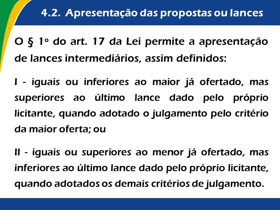 4.2. Apresentação das propostas ou lances