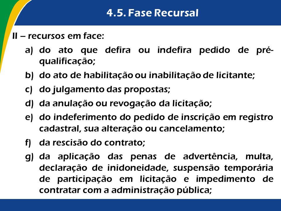 4.5. Fase Recursal II – recursos em face: