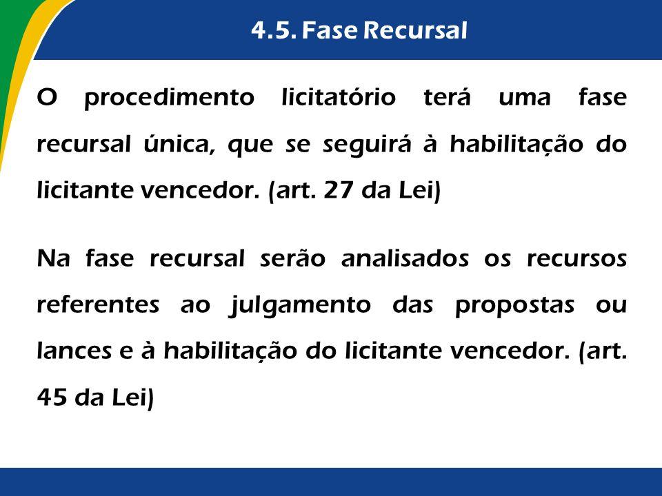 4.5. Fase Recursal O procedimento licitatório terá uma fase recursal única, que se seguirá à habilitação do licitante vencedor. (art. 27 da Lei)