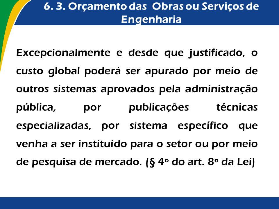 6. 3. Orçamento das Obras ou Serviços de Engenharia