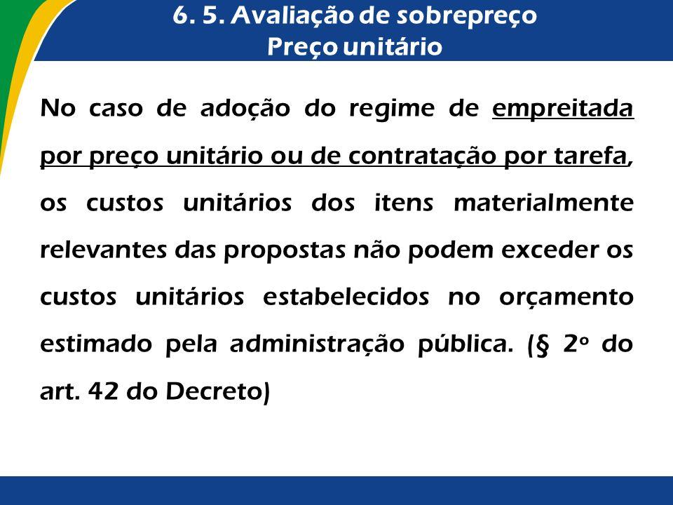 6. 5. Avaliação de sobrepreço Preço unitário