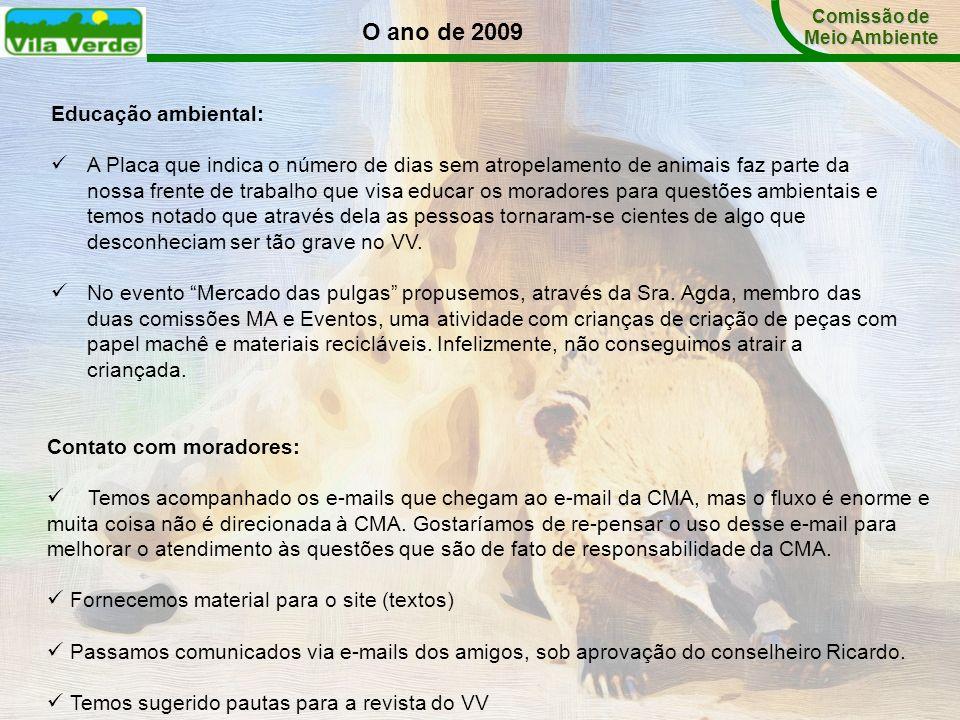 O ano de 2009 Educação ambiental: