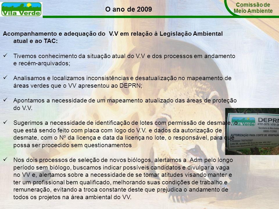 Comissão de Meio Ambiente. O ano de 2009. Acompanhamento e adequação do V.V em relação à Legislação Ambiental atual e ao TAC: