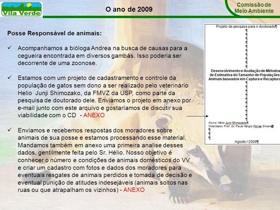 O ano de 2009 Posse Responsável de animais:
