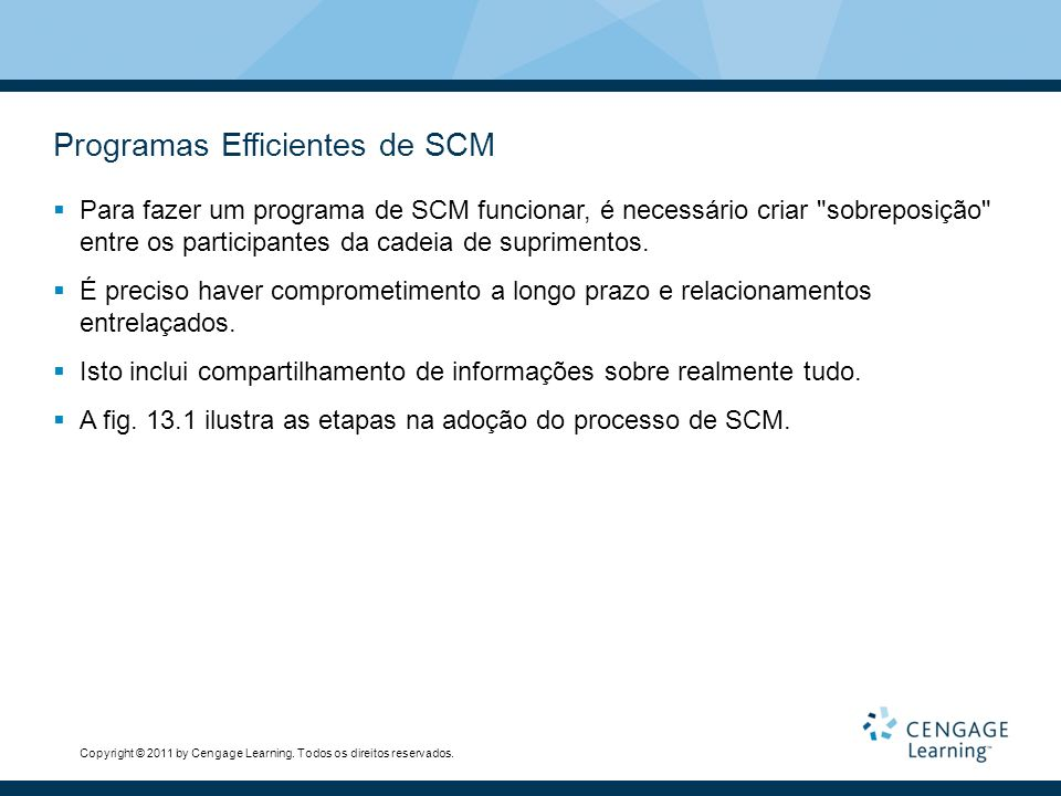 Programas Efficientes de SCM