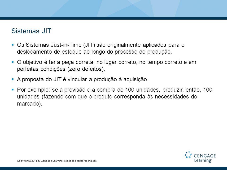 Sistemas JIT Os Sistemas Just-in-Time (JIT) são originalmente aplicados para o deslocamento de estoque ao longo do processo de produção.