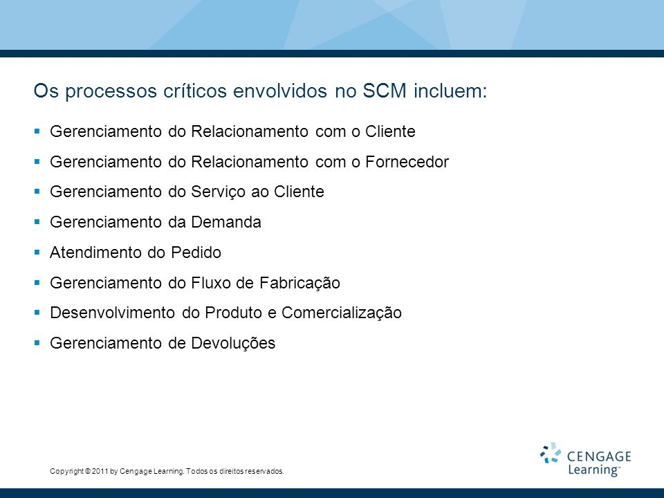 Os processos críticos envolvidos no SCM incluem: