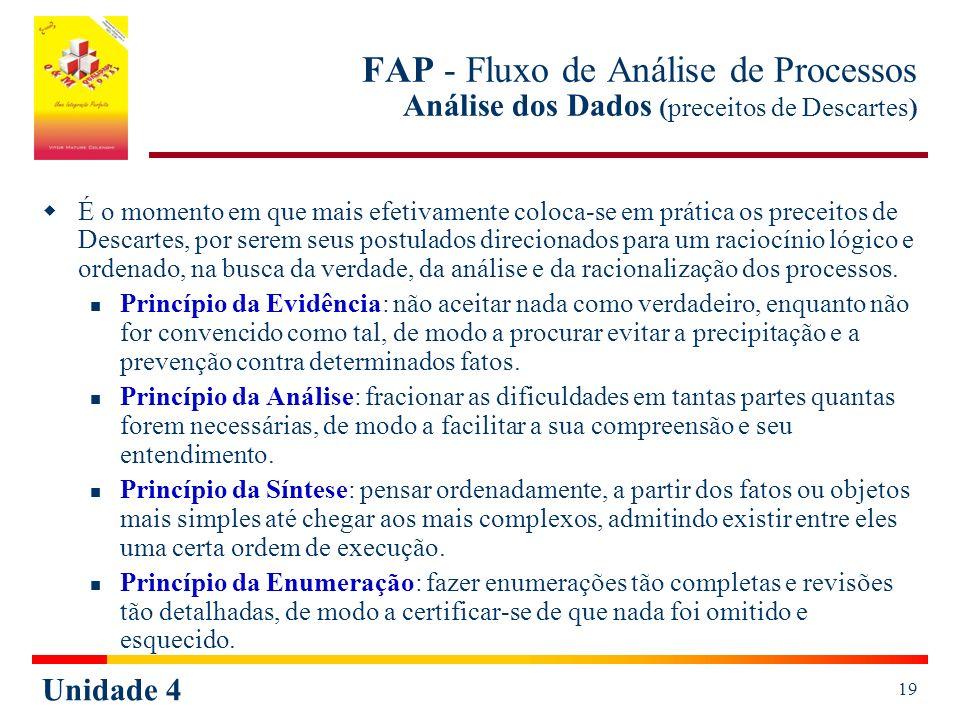FAP - Fluxo de Análise de Processos Análise dos Dados (preceitos de Descartes)