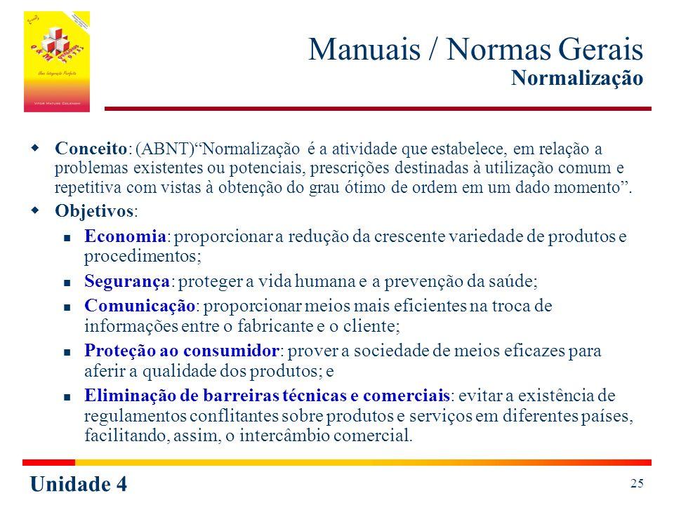 Manuais / Normas Gerais Normalização