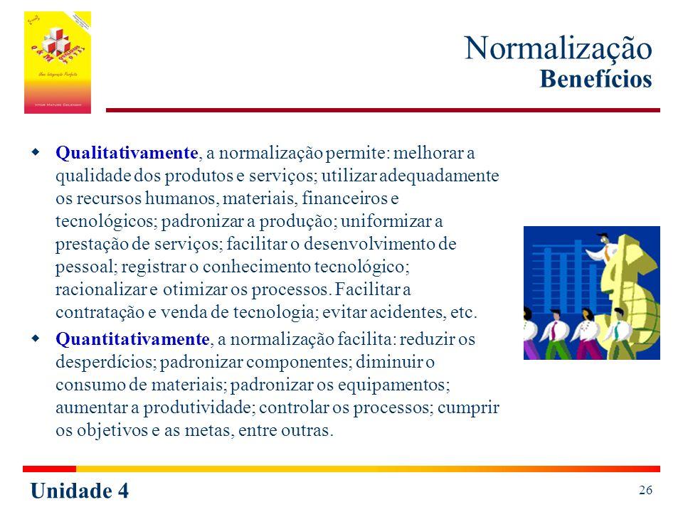Normalização Benefícios