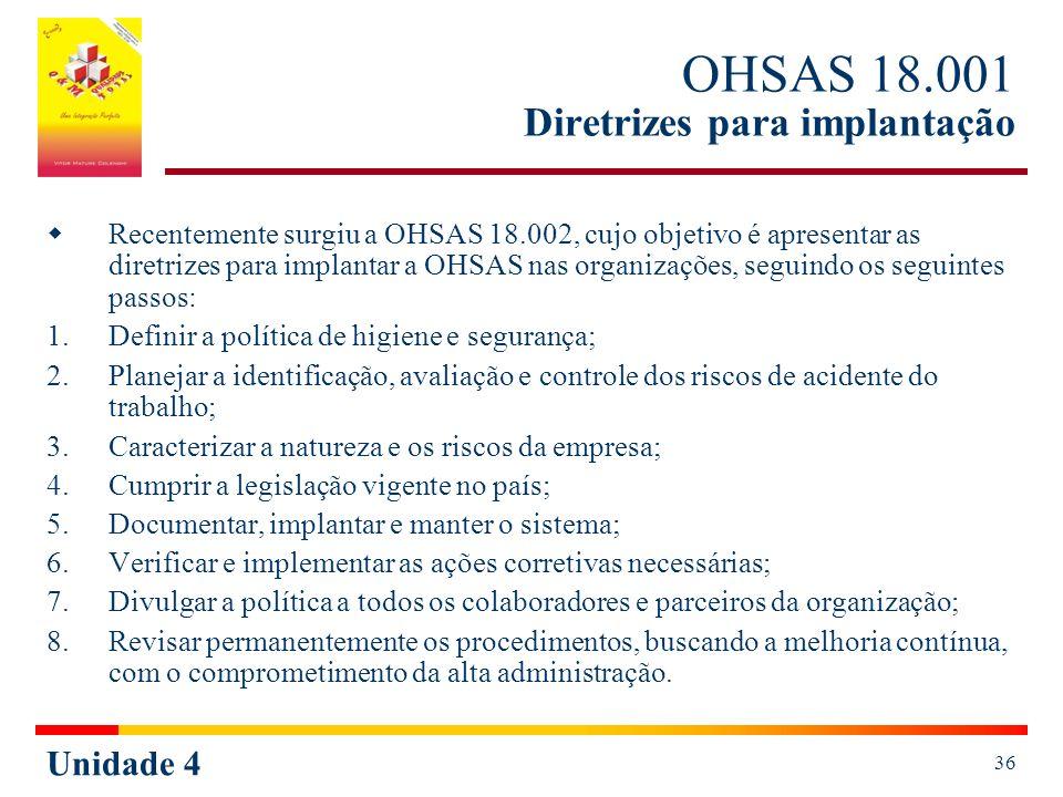 OHSAS 18.001 Diretrizes para implantação