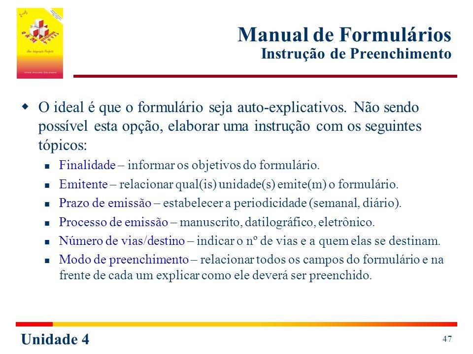 Manual de Formulários Instrução de Preenchimento