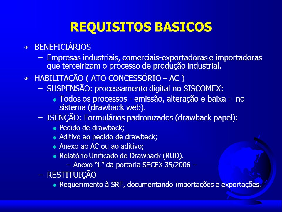 REQUISITOS BASICOS BENEFICIÁRIOS