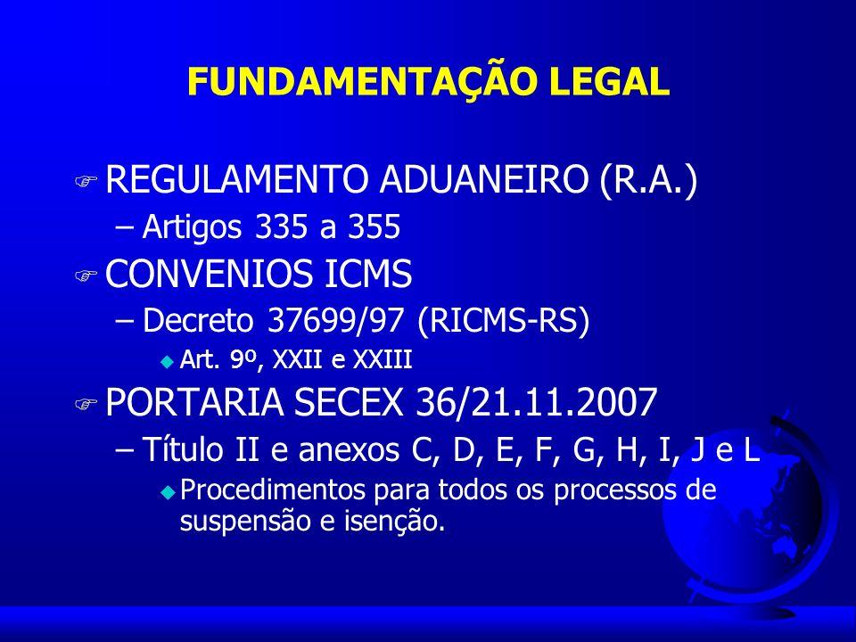 REGULAMENTO ADUANEIRO (R.A.) CONVENIOS ICMS