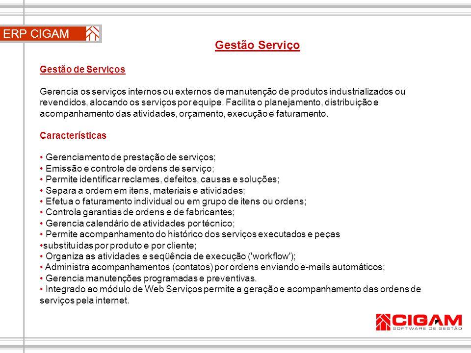 ERP CIGAM Gestão Serviço Gestão de Serviços