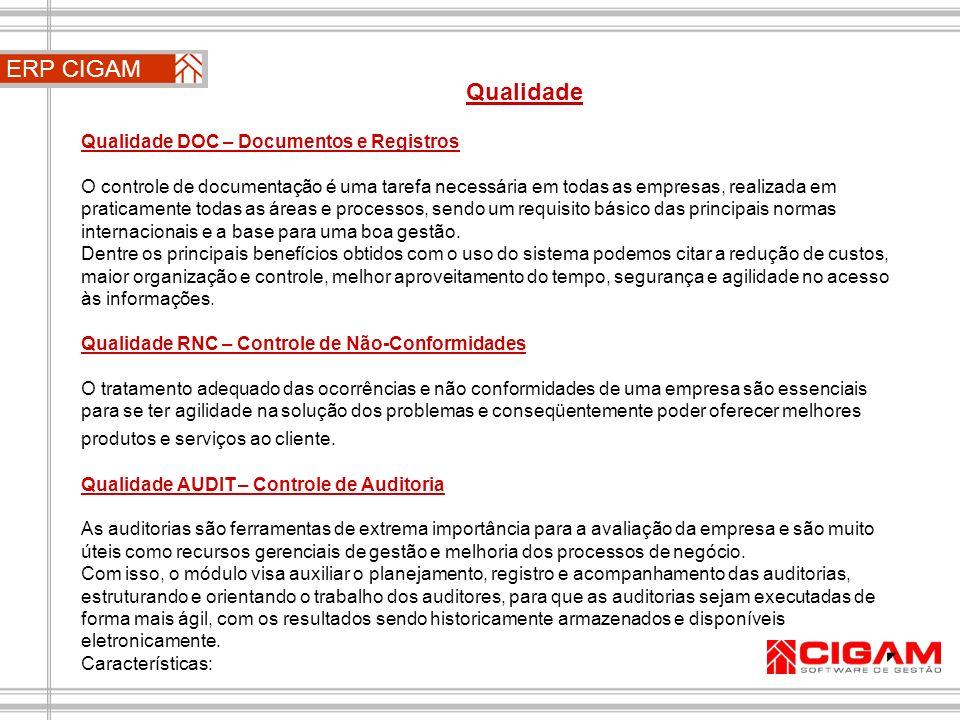 ERP CIGAM Qualidade Qualidade DOC – Documentos e Registros