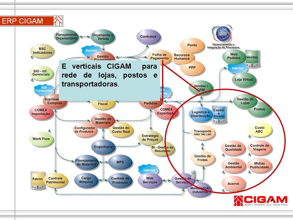 ERP CIGAM E verticais CIGAM para rede de lojas, postos e transportadoras.
