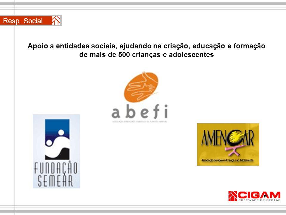 Resp. Social Apoio a entidades sociais, ajudando na criação, educação e formação de mais de 500 crianças e adolescentes.