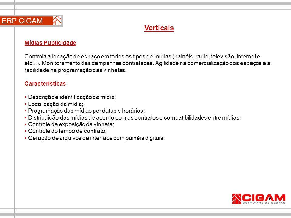 ERP CIGAM Verticais Mídias Publicidade
