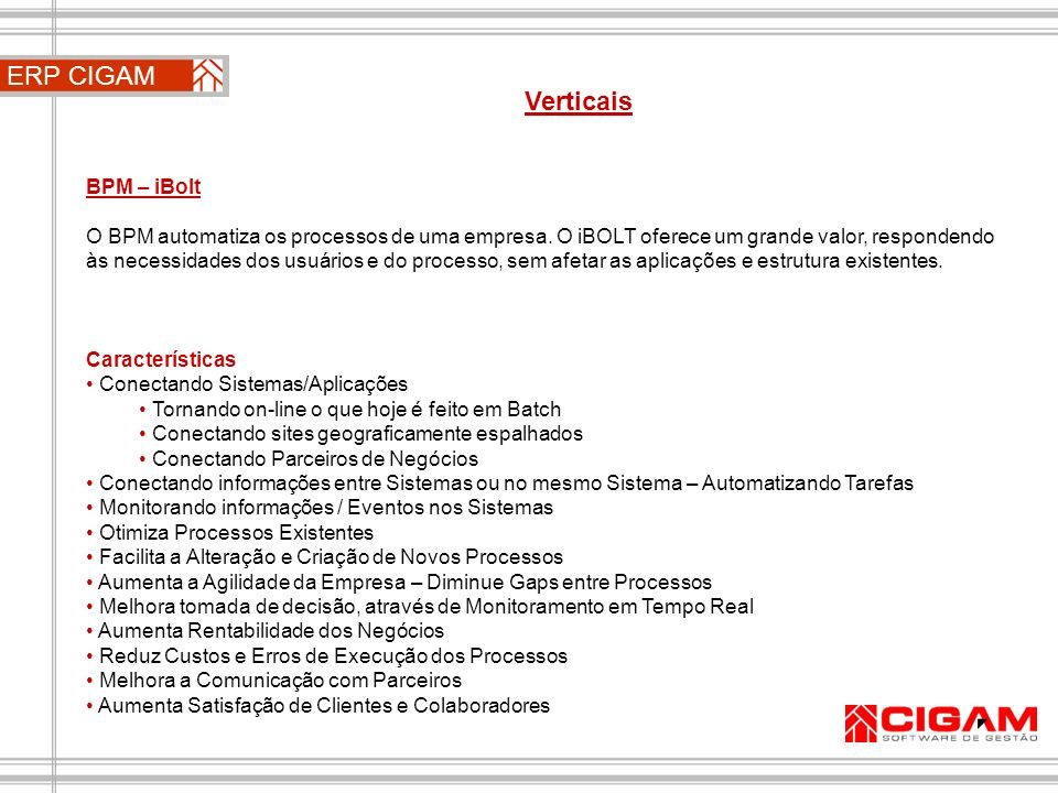 ERP CIGAM Verticais BPM – iBolt