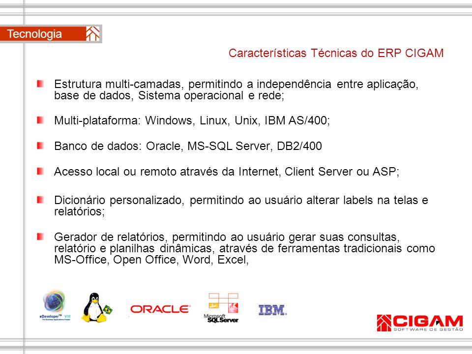 Características Técnicas do ERP CIGAM