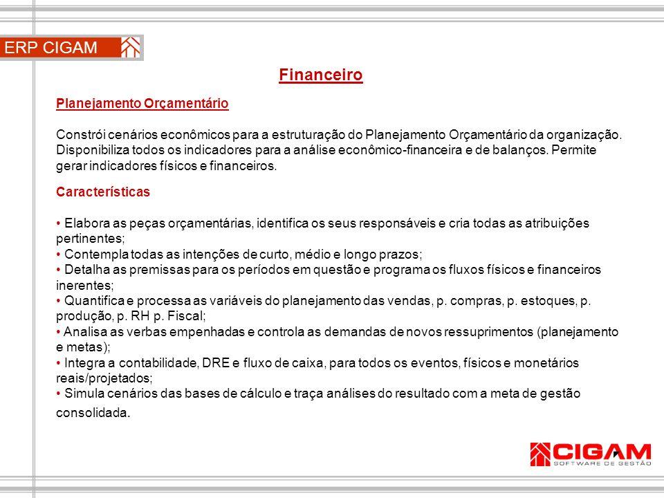 ERP CIGAM Financeiro Planejamento Orçamentário