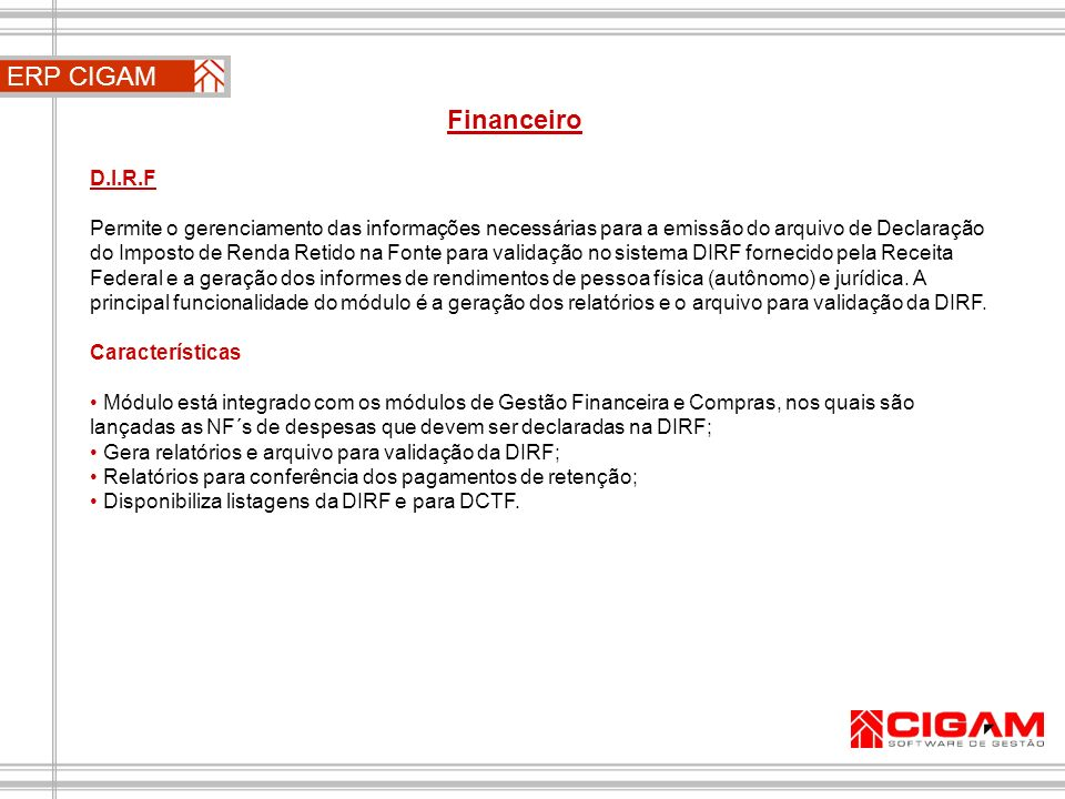 ERP CIGAM Financeiro D.I.R.F