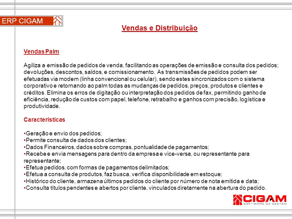 ERP CIGAM Vendas e Distribuição Vendas Palm
