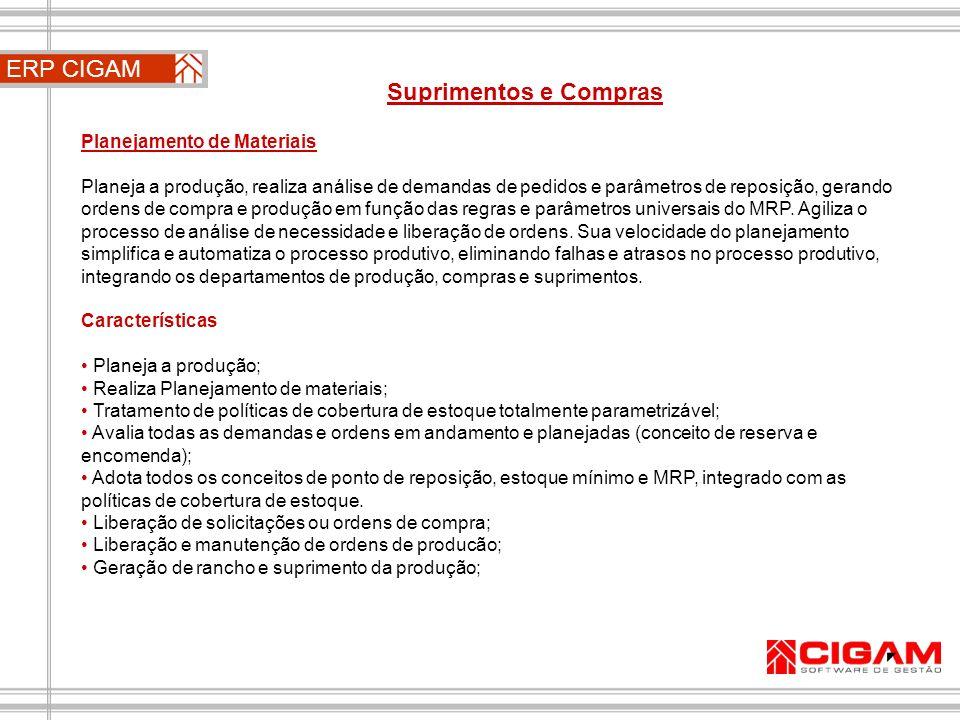 ERP CIGAM Suprimentos e Compras Planejamento de Materiais