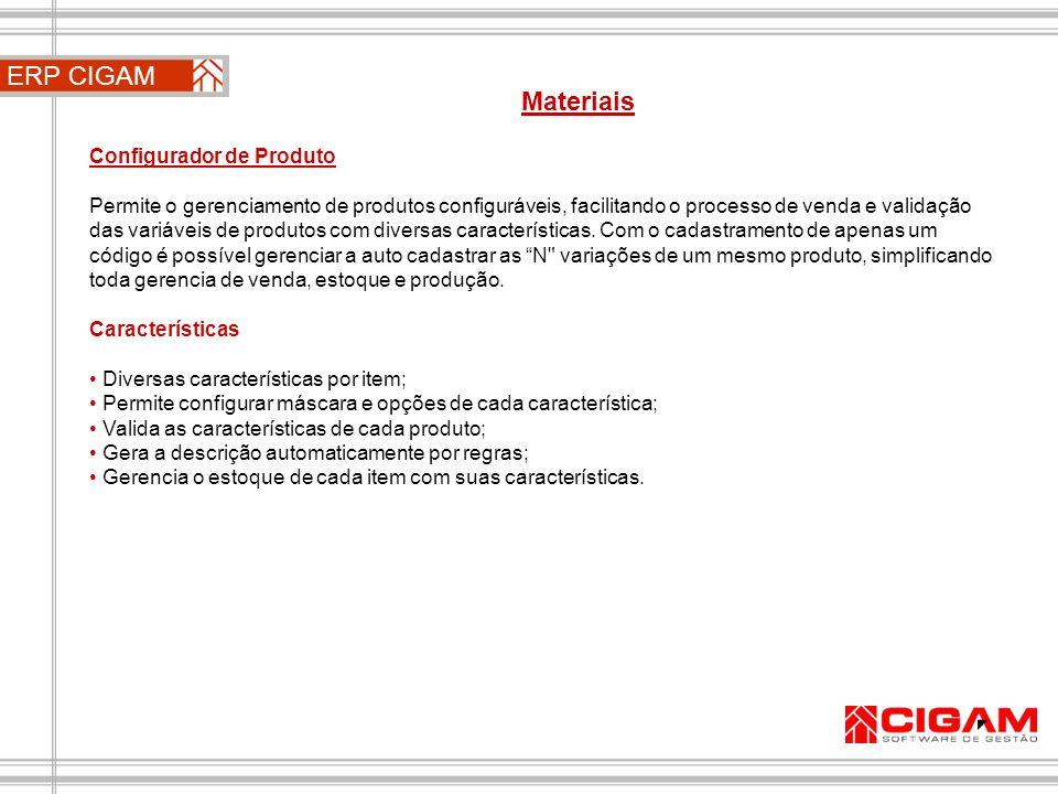 ERP CIGAM Materiais Configurador de Produto
