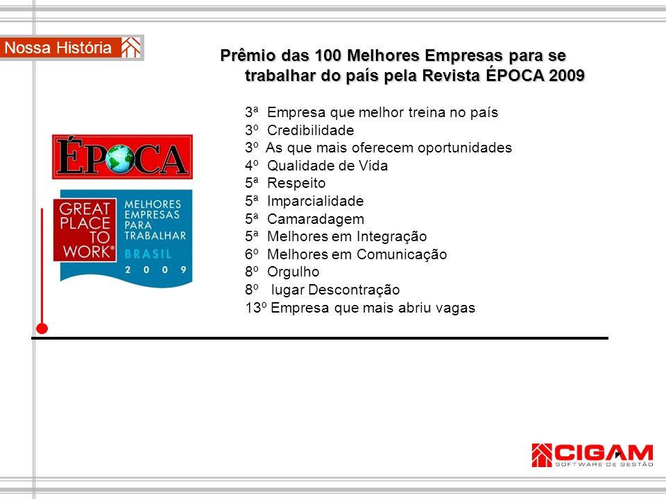 Nossa História Prêmio das 100 Melhores Empresas para se trabalhar do país pela Revista ÉPOCA 2009. 3ª Empresa que melhor treina no país.