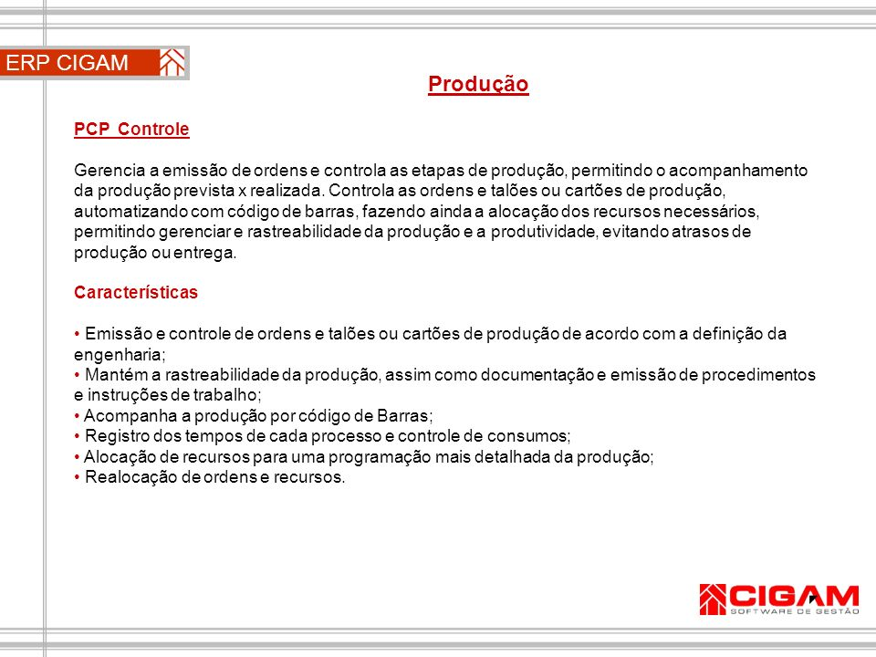 ERP CIGAM Produção PCP Controle