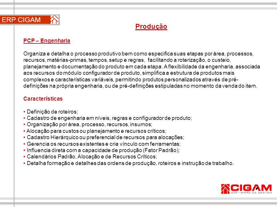 ERP CIGAM Produção PCP – Engenharia