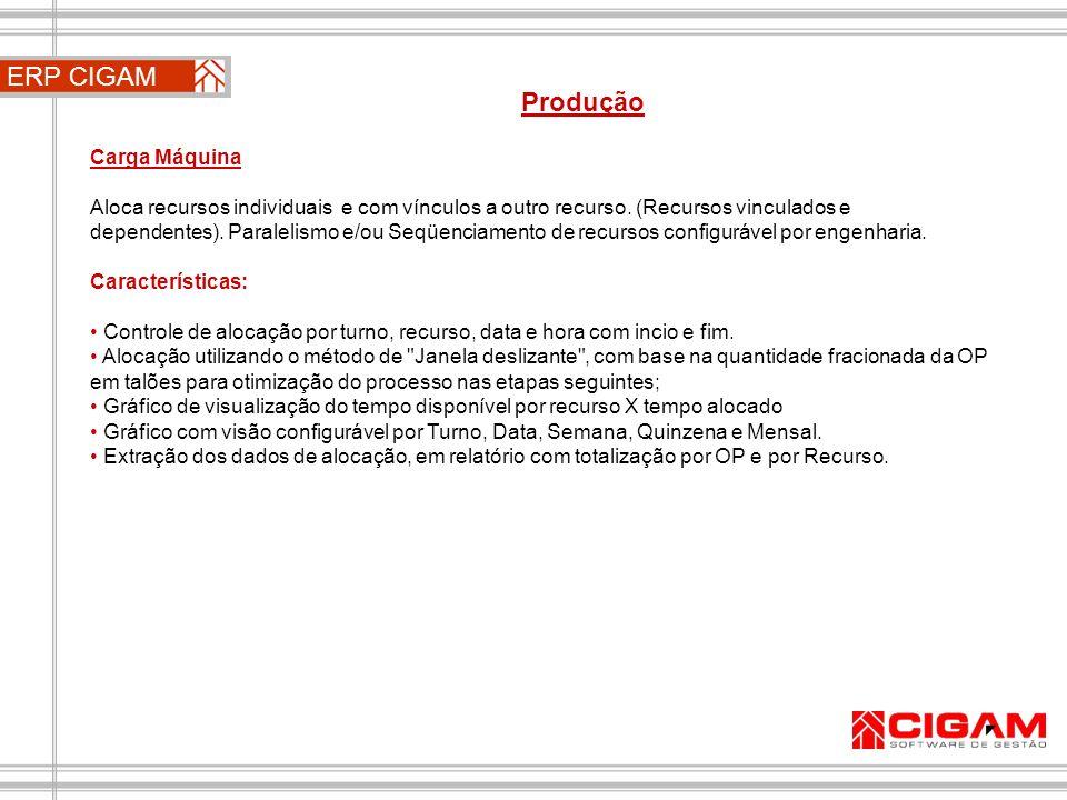 ERP CIGAM Produção Carga Máquina