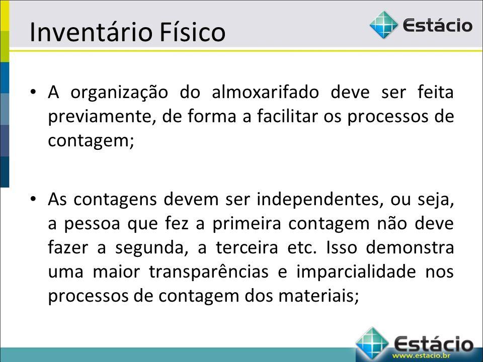 Inventário Físico A organização do almoxarifado deve ser feita previamente, de forma a facilitar os processos de contagem;