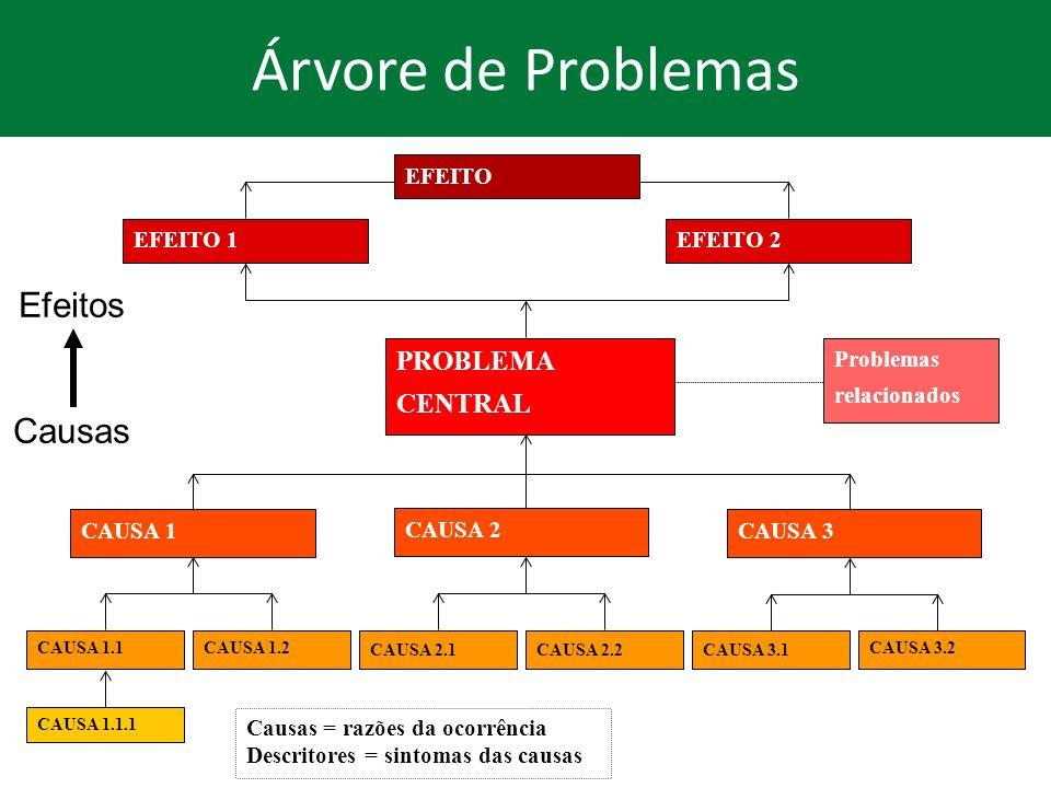 Árvore de Problemas PROBLEMA CENTRAL EFEITO EFEITO 1 EFEITO 2 Efeitos