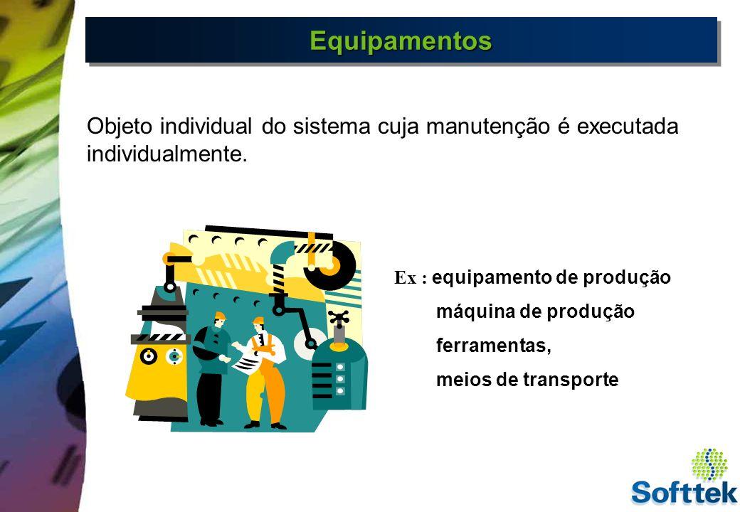 Equipamentos Objeto individual do sistema cuja manutenção é executada individualmente. Ex : equipamento de produção.