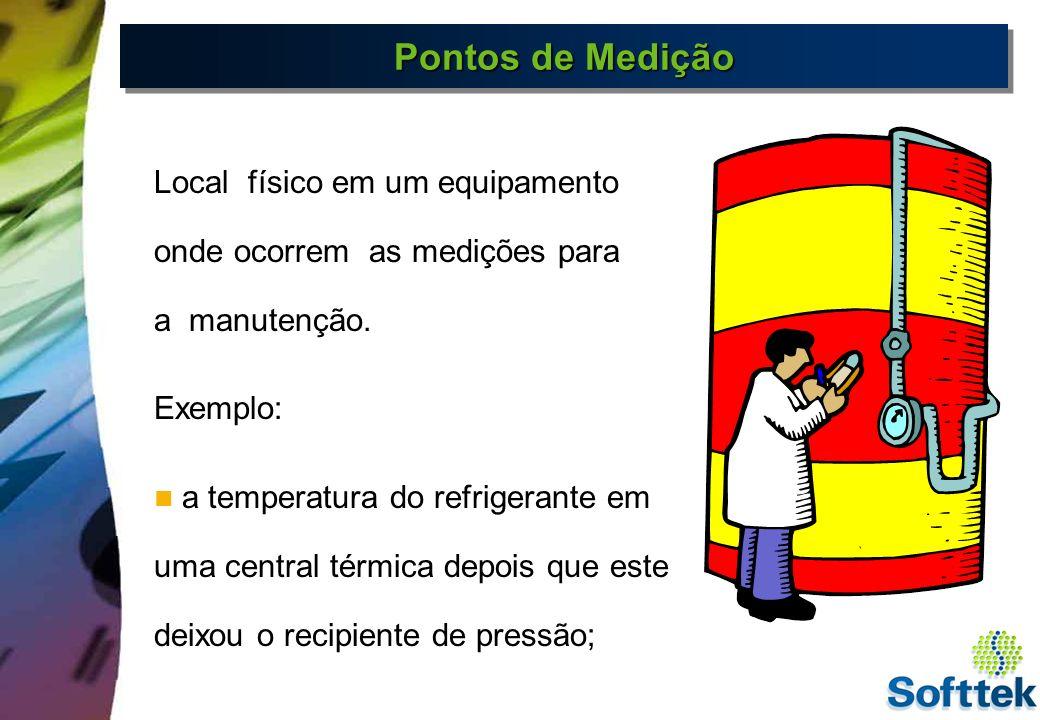 Pontos de Medição Local físico em um equipamento onde ocorrem as medições para. a manutenção. Exemplo:
