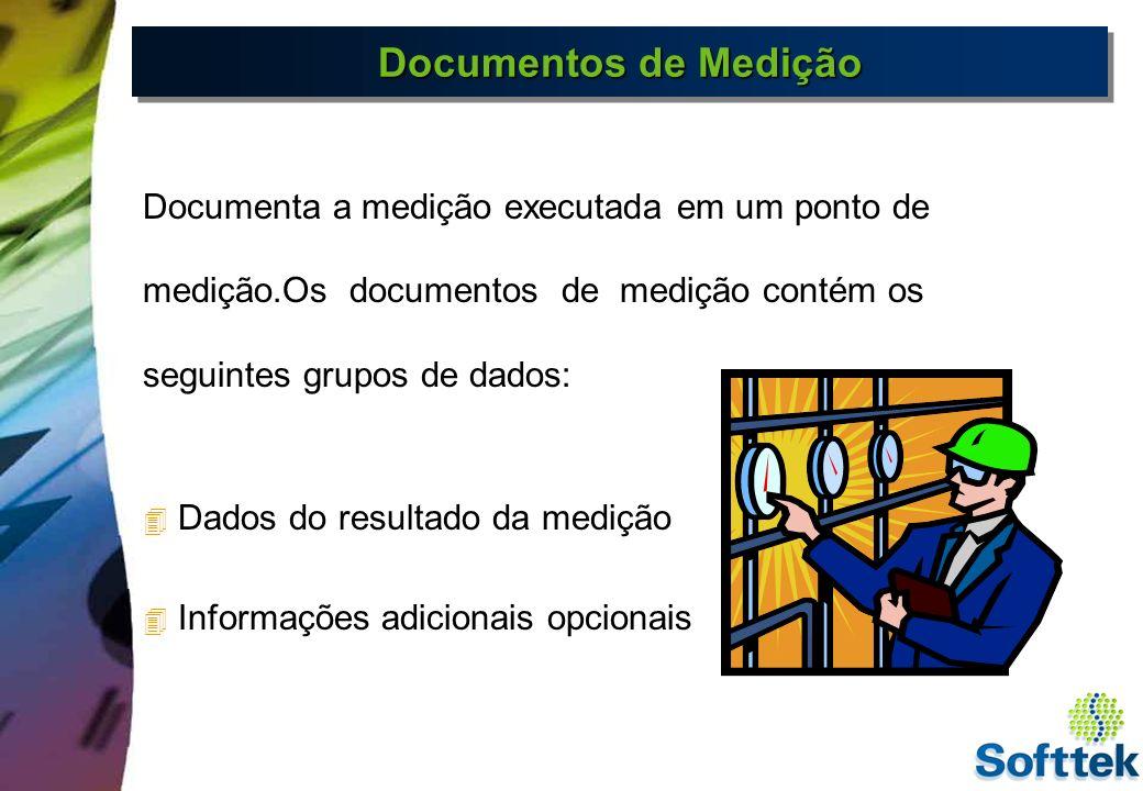 Documentos de Medição Documenta a medição executada em um ponto de medição.Os documentos de medição contém os seguintes grupos de dados: