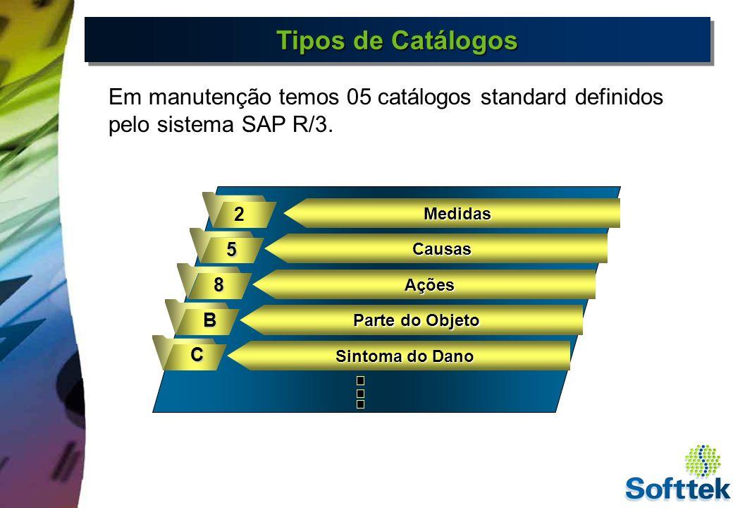 Tipos de Catálogos Em manutenção temos 05 catálogos standard definidos