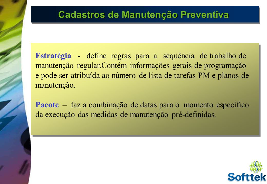 Cadastros de Manutenção Preventiva