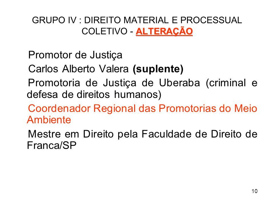 GRUPO IV : DIREITO MATERIAL E PROCESSUAL COLETIVO - ALTERAÇÃO