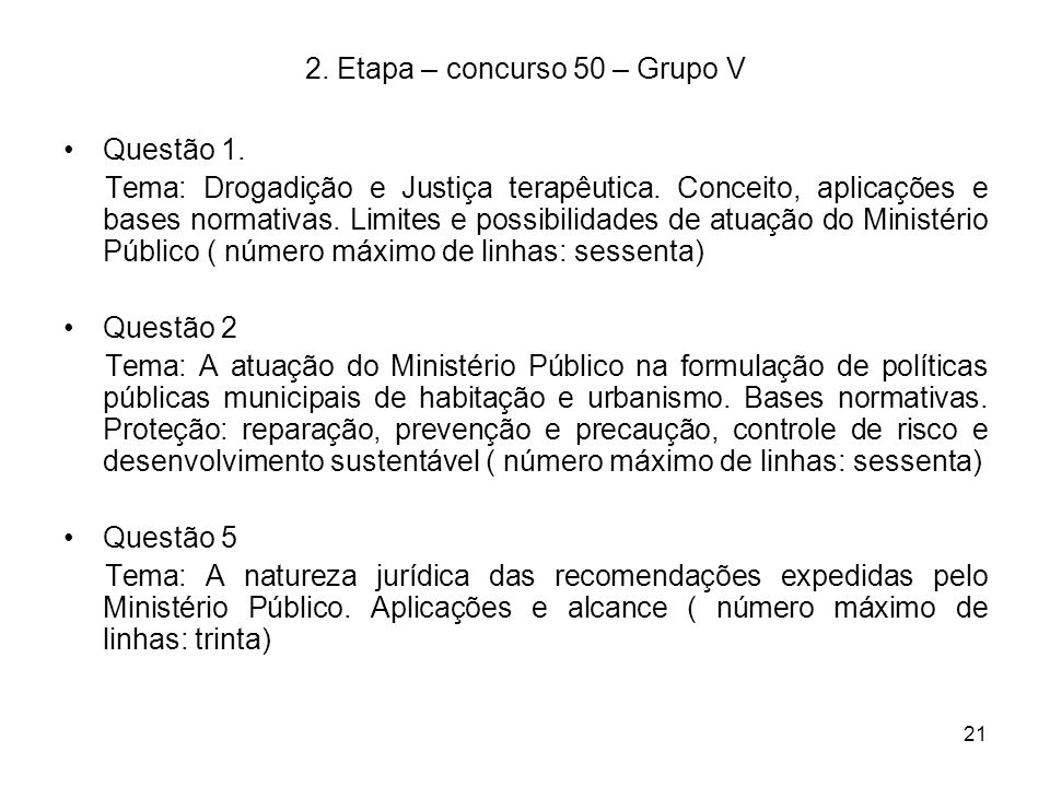 2. Etapa – concurso 50 – Grupo V