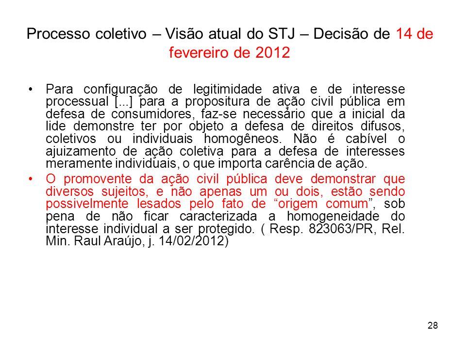 Processo coletivo – Visão atual do STJ – Decisão de 14 de fevereiro de 2012