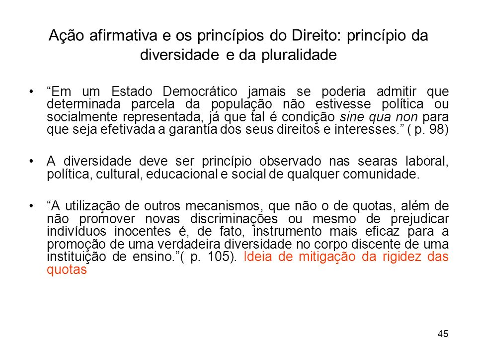 Ação afirmativa e os princípios do Direito: princípio da diversidade e da pluralidade