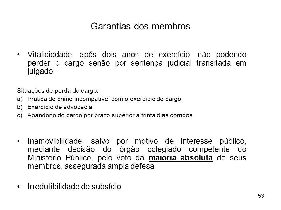 Garantias dos membros Vitaliciedade, após dois anos de exercício, não podendo perder o cargo senão por sentença judicial transitada em julgado.